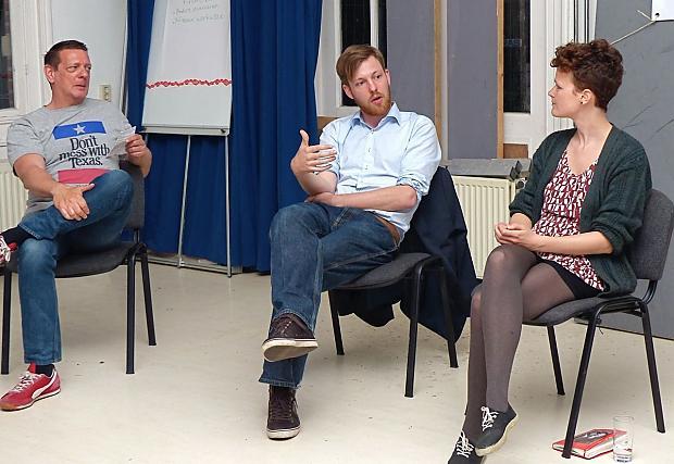 André Meijler (SP), Niels Jongerius (SP) en Jeroni Vergeer (GL)